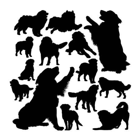 Bernese mountain dog silhouettes. Good use for symbol, logo, web icon, mascot, sign, or any design you want. Çizim