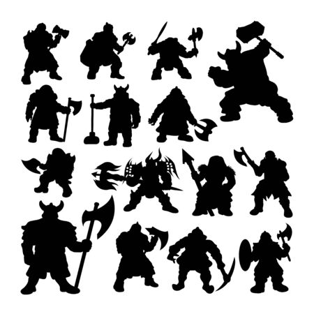 Dwarf warrior silhouettes. Good use for symbol, logo, web icon, mascot, sign, or any design you want.