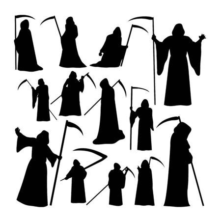 Grim reaper silhouettes. Good use for symbol, logo, web icon, mascot, sign, or any design you want.