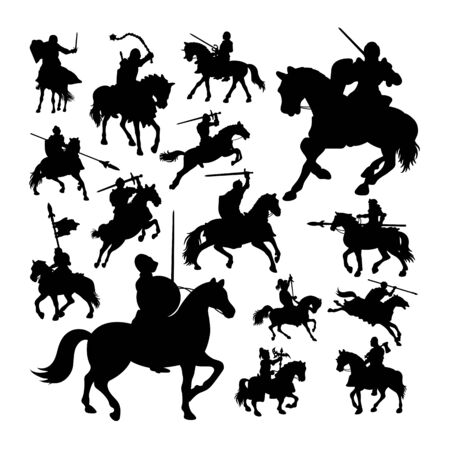Knight on horse silhouettes. Good use for symbol, logo, web icon, mascot, sign, or any design you want.