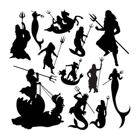 Poseidon silhouettes. Good use for symbol, logo, web icon, mascot, sign, or any design you want. Çizim