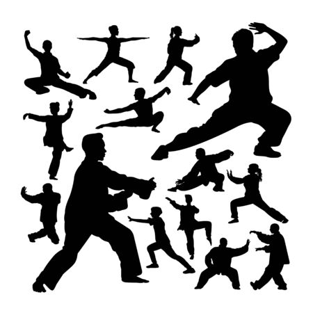Tai chi silhouettes. Good use for symbol, logo, web icon, mascot, sign, or any design you want. Çizim