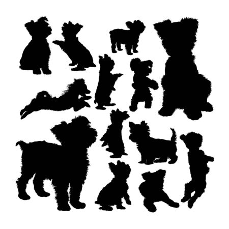 Yorkshire terrier dog animal silhouettes. Good use for symbol, logo, web icon, mascot, sign, or any design you want.