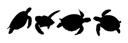 Green sea turtle silhouette 02. Good use for symbol, web icon, mascot, sign, or any design you want.