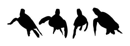 Green sea turtle silhouette 04. Good use for symbol, web icon, mascot, sign, or any design you want.