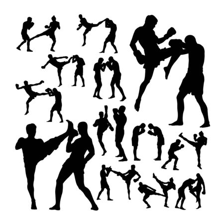 Couple thai boxing martial art silhouettes. Good use for symbol, logo, web icon, mascot, sign, or any design you want.