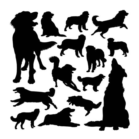 Hovawart dog animal silhouettes. Good use for symbol, logo, web icon, mascot, sign, or any design you want. Çizim