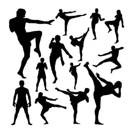 Muay thai martial art silhouettes. Good use for symbol, logo, web icon, mascot, sign, or any design you want. Çizim