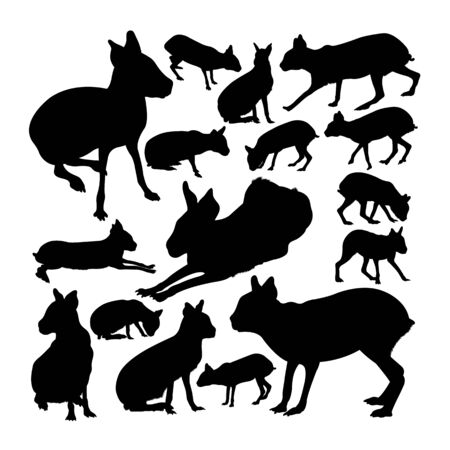Patagonian mara animal silhouettes. Good use for symbol, logo, web icon, mascot, sign, or any design you want.