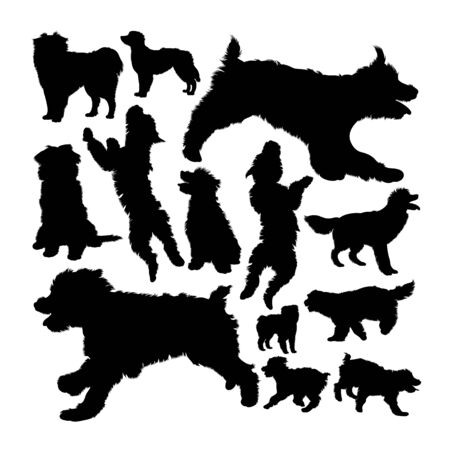 Pyrenean shepherd dog silhouettes. Good use for symbol, logo, web icon, mascot, sign, or any design you want.
