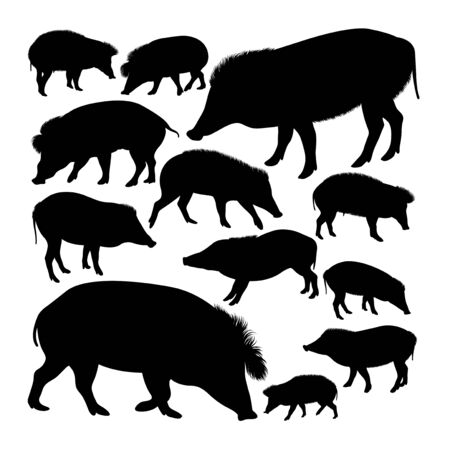 Vizayan warty pig animal silhouettes. Good use for symbol, logo, web icon, mascot, sign, or any design you want. Çizim