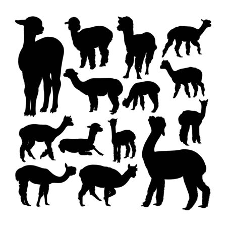 Alpaca animal silhouettes. Good use for symbol, logo, web icon, mascot, sign, or any design you want. Çizim