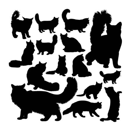 Maine coon cat animal silhouettes. Good use for symbol, logo, web icon, mascot, sign, or any design you want. Çizim