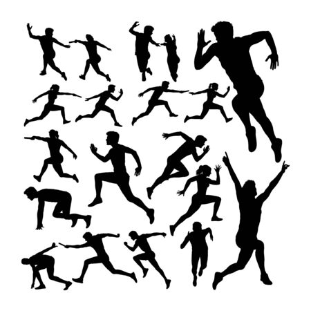 Relay race runner silhouettes. Good use for symbol, logo, web icon, mascot, sign, or any design you want.
