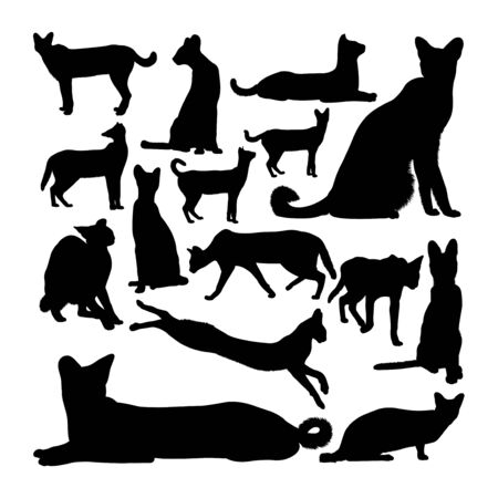 Serval cat animal silhouettes. Good use for symbol, logo, web icon, mascot, sign, or any design you want. Çizim