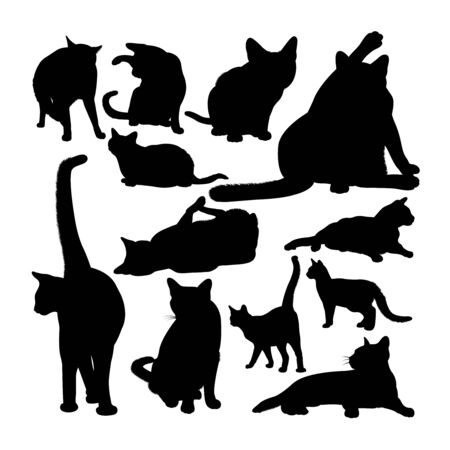 Siamese cat animal silhouettes. Good use for symbol, logo, web icon, mascot, sign, or any design you want.