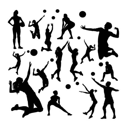 Volleyball player silhouettes. Good use for symbol, logo, web icon, mascot, sign, or any design you want. Çizim