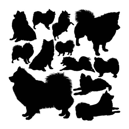 Volpino italiano dog animal silhouettes. Good use for symbol, logo, web icon, mascot, sign, or any design you want. Çizim