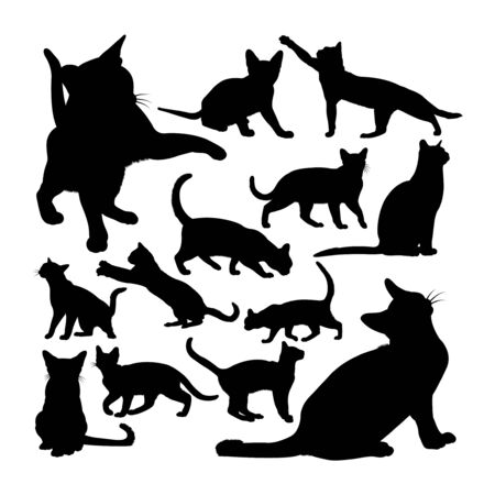 Adorable burmese cat animal silhouettes. Good use for symbol, logo, web icon, mascot, sign, or any design you want.