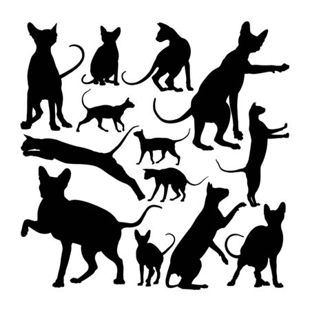 Adorable sphynx cat animal silhouettes. Good use for symbol, logo, web icon, mascot, sign, or any design you want. Çizim