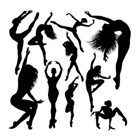 Attractive female ballet dancer silhouettes. Good use for symbol, logo, web icon, mascot, sign, or any design you want.