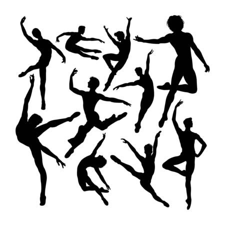 Attractive male ballet dancer silhouettes. Good use for symbol, logo, web icon, mascot, sign, or any design you want.