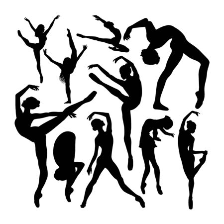 Beautiful female ballet dancer silhouettes. Good use for symbol, logo, web icon, mascot, sign, or any design you want.