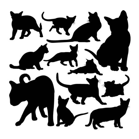 Cute burmese cat animal silhouettes. Good use for symbol, logo, web icon, mascot, sign, or any design you want. Çizim