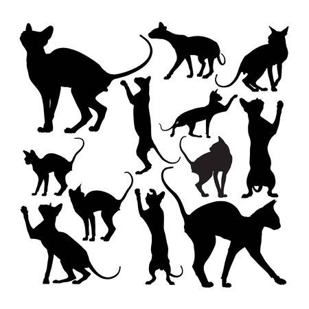 Cute sphynx cat animal silhouettes. Good use for symbol, logo, web icon, mascot, sign, or any design you want. Çizim