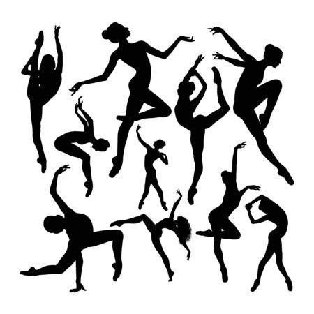 Energetic female ballet dancer silhouettes. Good use for symbol, logo, web icon, mascot, sign, or any design you want.
