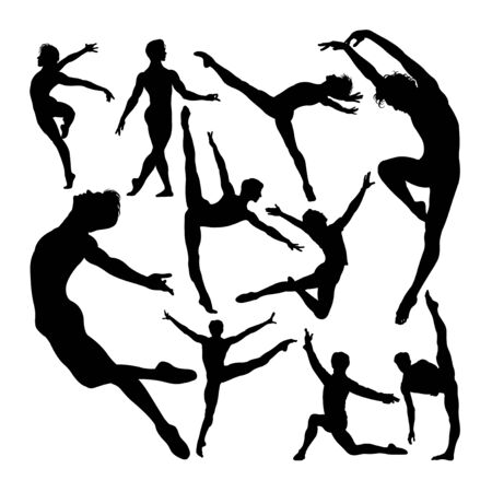 Male ballet dancer poses silhouettes. Good use for symbol, logo, web icon, mascot, sign, or any design you want. 免版税图像 - 149742171