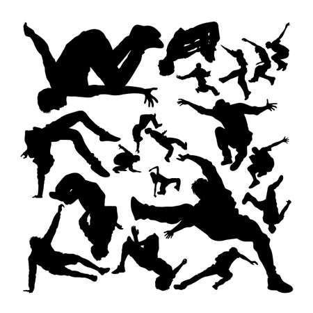 Parkour activity silhouettes set on white 矢量图像