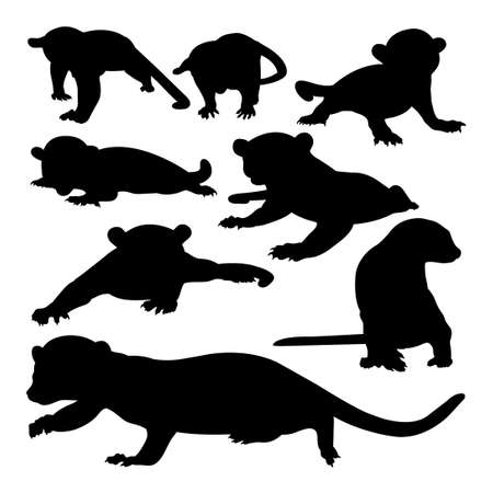 Kinkajou animal silhouettes on white 免版税图像 - 156091581