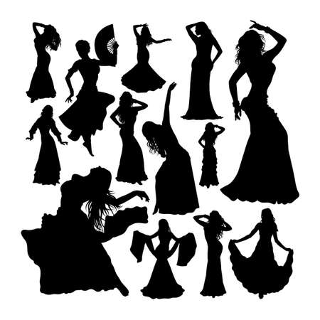 Belly dancer silhouettes on white Çizim