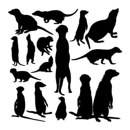 Meerkat animal silhouettes on white 矢量图像