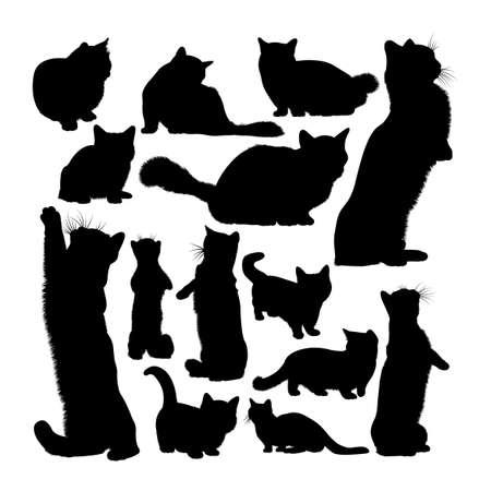 Munchkin cat animal silhouettes set 矢量图像