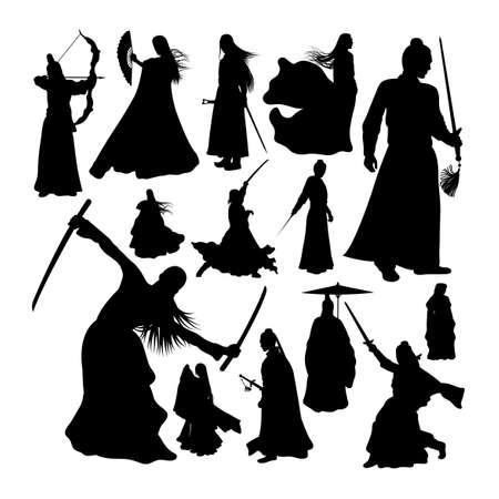 Martial art warrior silhouettes set