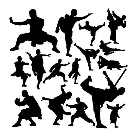 Shaolin monk martial art silhouettes set 矢量图像