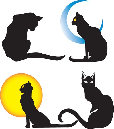 Vector illustration of cat and moon Vector