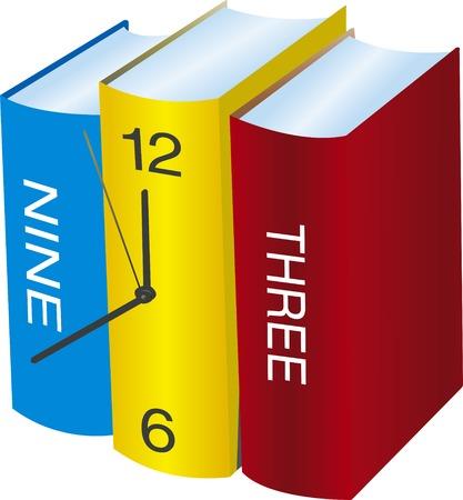 stapel papieren: Conceptuele klok gemaakt met drie boeken