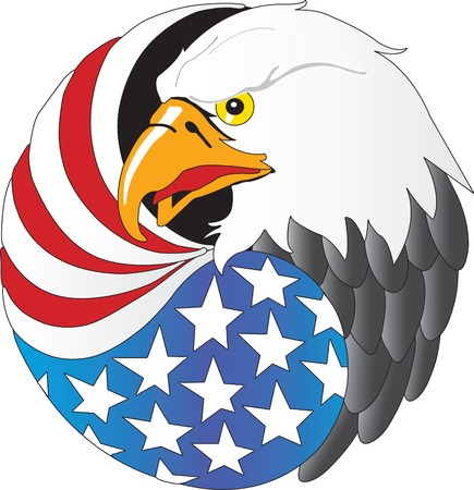 Vector illustration of Eagle with wing like a American flag