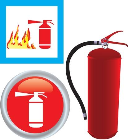 industrial danger: Ilustraci�n vectorial de Extintor con icono