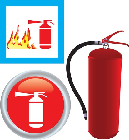 Vector illustration of Fire extinguisher with icon Illustration