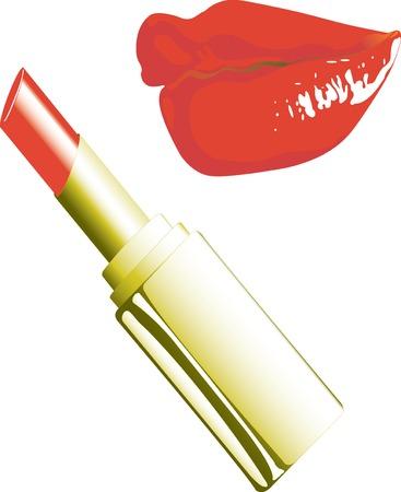 hot lips: Vector ilustraci�n de l�piz labial y los labios Vectores