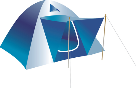 Vector illustration of blue tent