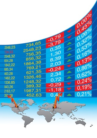 stock market chart: vector illustration of global economic crisis
