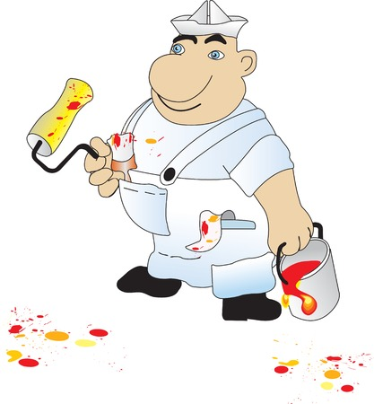 Vector illustration of house painter