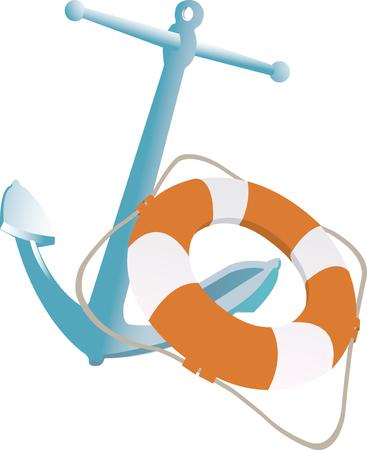 canotaje: Vector ilustraci�n de la vida y de anclaje del cintur�n