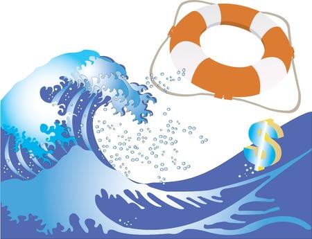lifeline: Vector illustration of low dollar