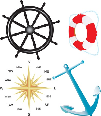 Vector illustration for compass, helm, belt and anchor isolated on white background